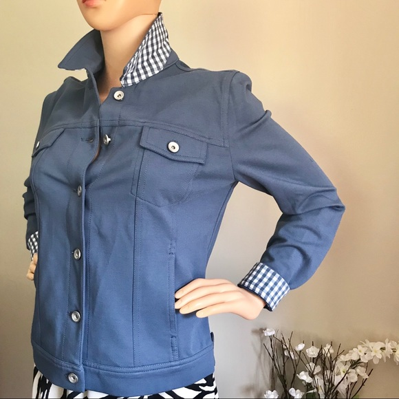 Kelly Clinton Jackets & Blazers - NWOT  Blue Jacket with collar and cuffs combined!